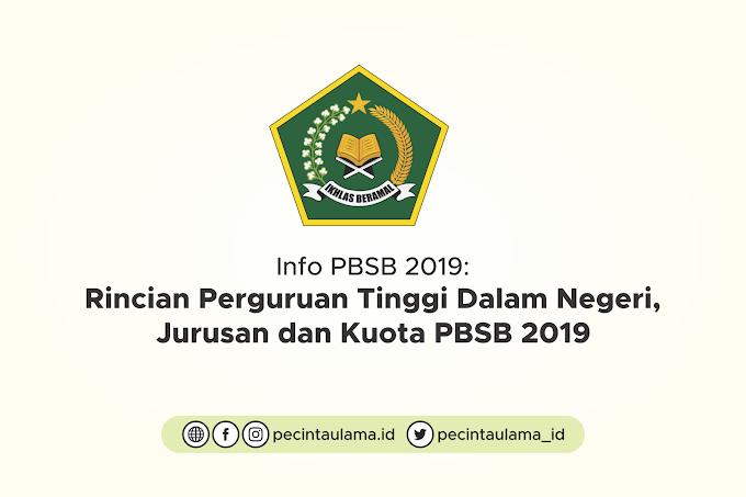 Rincian Perguruan Tinggi Dalam Negeri, Jurusan dan Kuota PBSB 2019