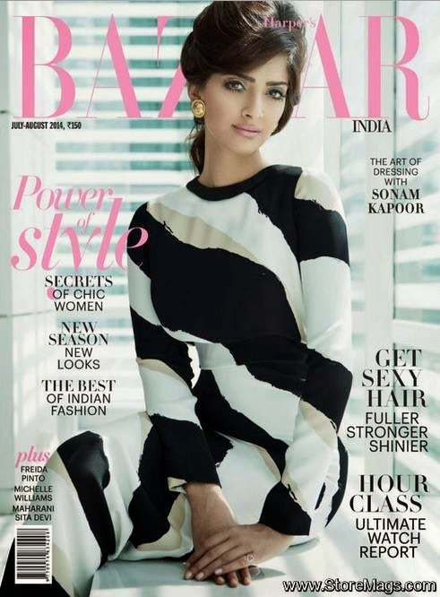 Sonam Kapoor covers Harper's Bazaar India July/August 2014