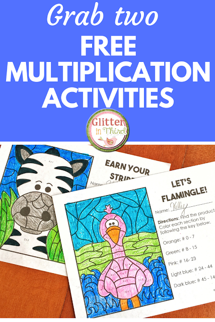 Don't miss this free multiplication color by number worksheet printable! A great activity for math centers. Designed for math fact practice in your elementary classrooms. Perfect for third grade and fourth grade math. Join my mailing list to receive this freebie and much more! #GlitterinThird #freeteachingresources #mathactivities #elementary