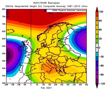 Ανασκόπηση Φεβρουαρίου στην Ευρώπη με τα στοιχεία του NOAA