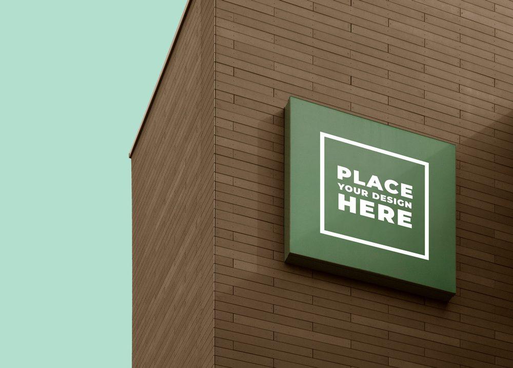 Square Brand Sign Mockup