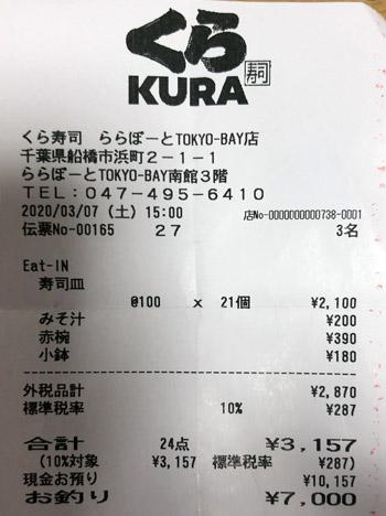 くら寿司 ららぽーとTOKYO-BAY店 2020/3/7 飲食のレシート