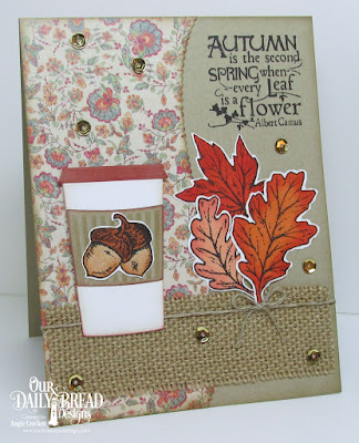 ODBD Autumn Blessings, ODBD Custom Fall Leaves and Acorn Dies, ODBD Custom Leafy Edged Borders Dies, ODBD Custom Beverage Cup Dies, ODBD Cozy Quilt Paper Collection, Card Designer Angie Crockett