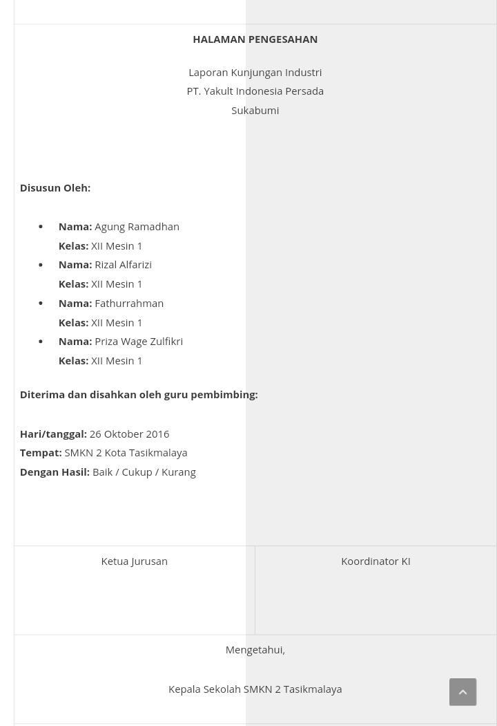 Contoh Laporan Kunjungan Industri Smk Otomotif Kumpulan Contoh Laporan