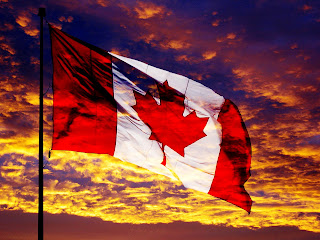Waving Canada Flag Sunset and Clouds Landscape HD Wallpaper