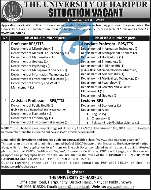 Jobs in The University of Haripur Latest Advertisement 2019