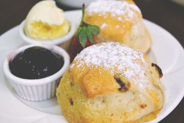 English scones with tea and jam
