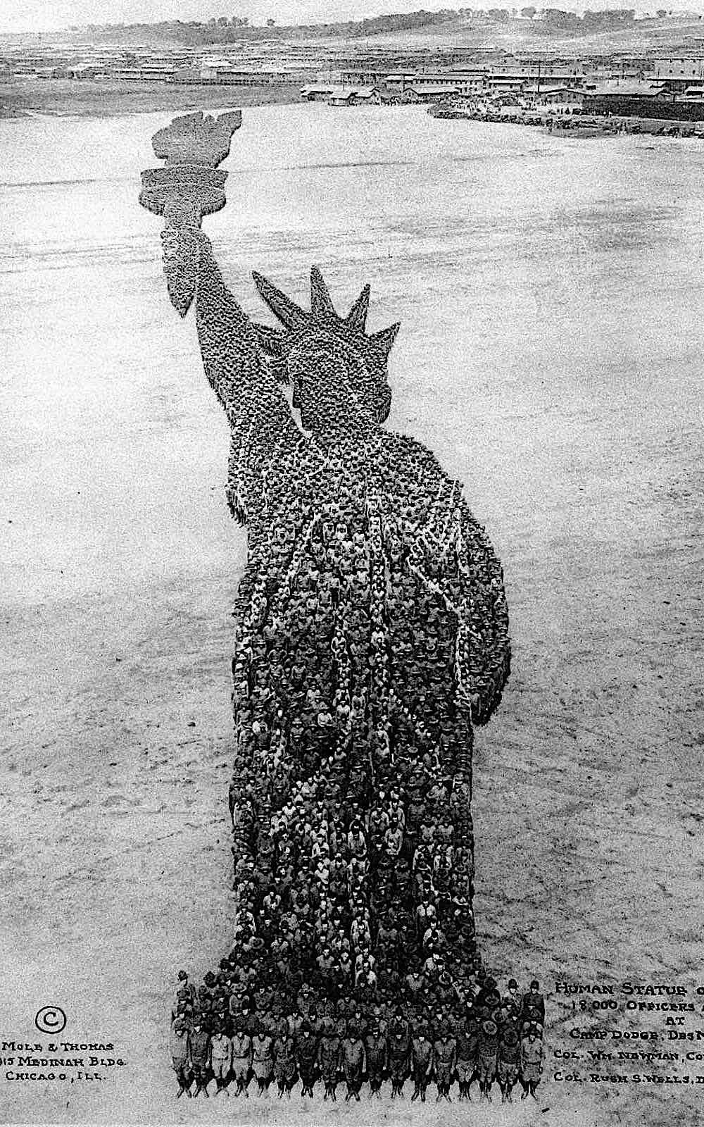 1918 Camp Dodge,  Des Moines aerial photo of 800 men human statue of liberty