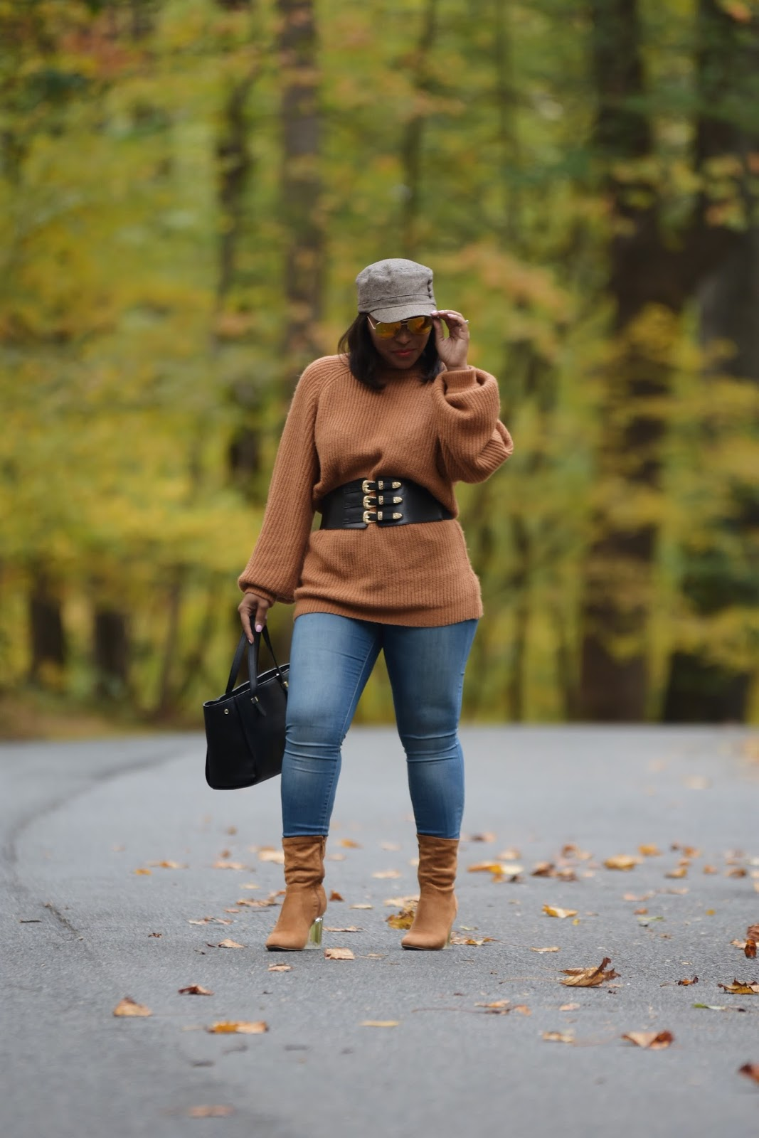 Fall foilage, fall outfits, forever21 sweaters, casual fall outfits, waist belts, rock creek park, dc bloggers, dominican bloggers