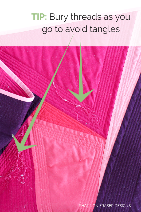Tip - bury threads as you go | How to bury quilt threads + 5 top tips | Quilting Tutorial | Shannon Fraser Designs