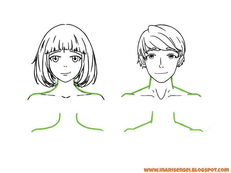 Différences du cou et des épaules entre une femme et un homme en manga