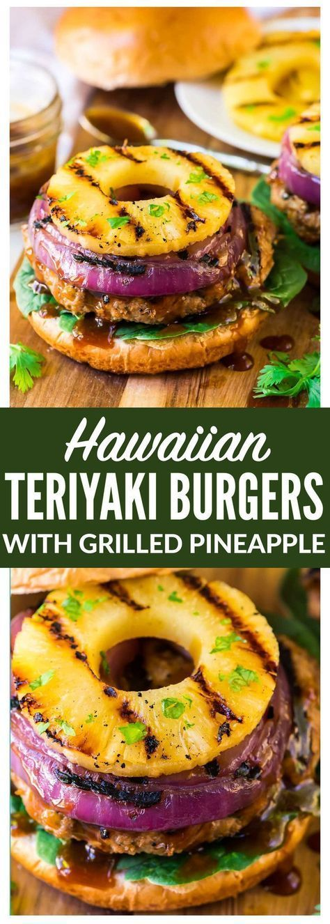 Teriyaki Burgers with Grilled Pineapple