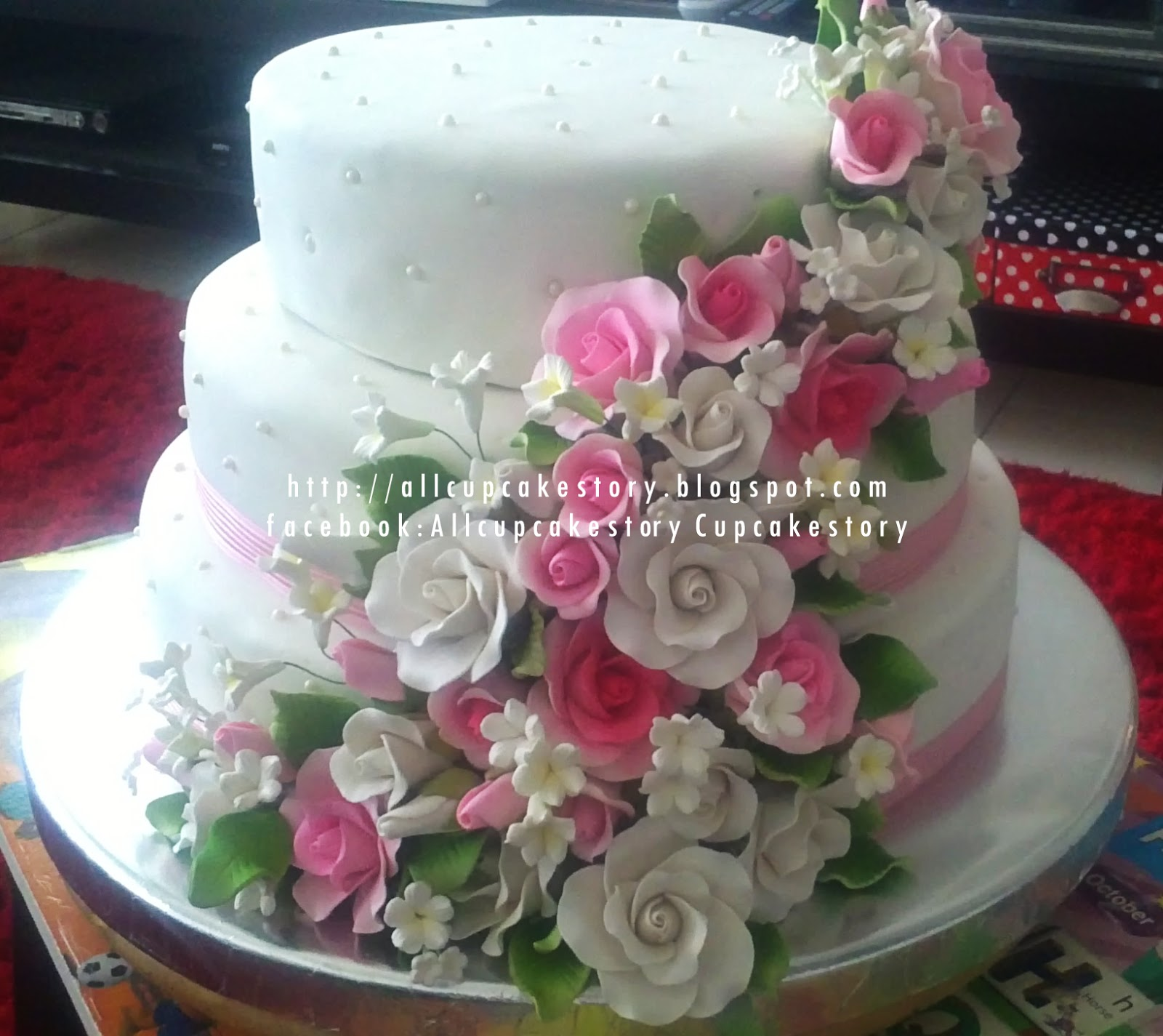 Allcupcakestory 3 Tier Pink White Wedding Cake