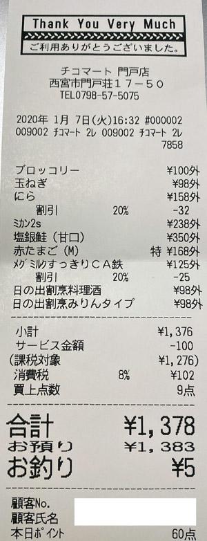 チコマート 門戸店 2020/1/7 のレシート