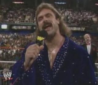 WWF / WWE WRESTLEMANIA 4: 'Ravishing' Rick Rude gets ready for battle against Jake 'The Snake' Roberts