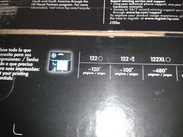 Caja de impresora indicando cuales son los cartuchos de tinta HP