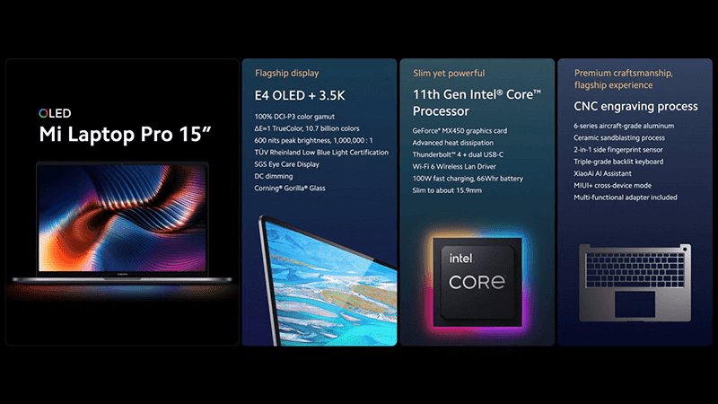 """Xiaomi Mi Laptop Pro 15"""" 3.5K OLED screen and Mi Laptop Pro 14"""" with 120Hz LCD announced"""