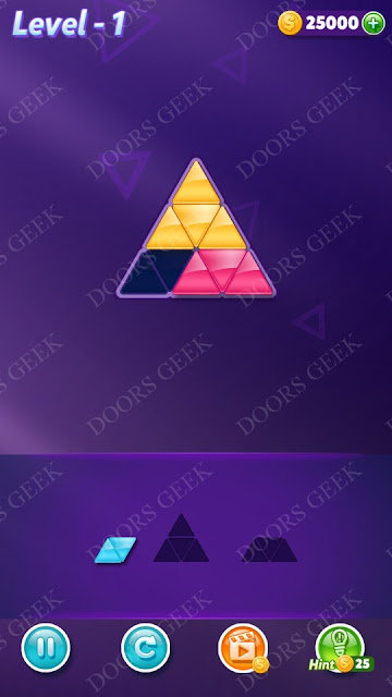 Block Triangle Puzzle Novice Level 1 , Cheats, Walkthrough for Android, iPhone, iPad and iPod