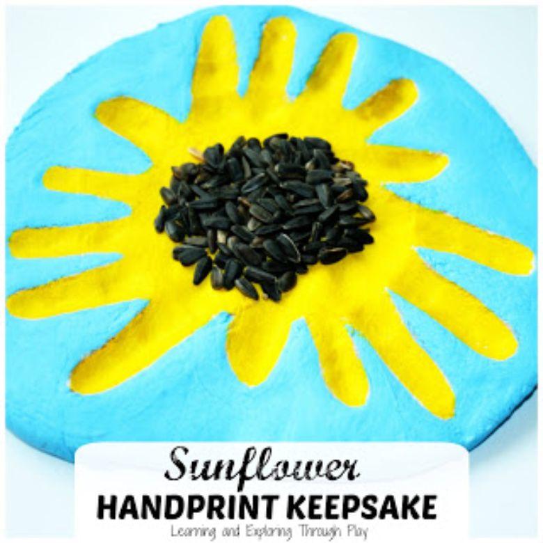 sunflower salt dough handprints craft