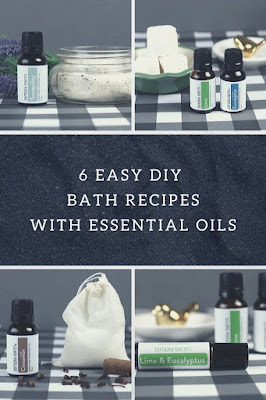 How to make 6 easy DIY diy bath recipes.  These simple recipes from Simply Earth are in the essential oil recipe box. Make easy stuff for a spa day at home or relaxation or gifts. Get ideas for bath and body add ins for bath salts, milk bath, tub tea. Use ingredients like oatmeal, epsom salts, baking soda, and essential oils. #diybeauty #bathandbody