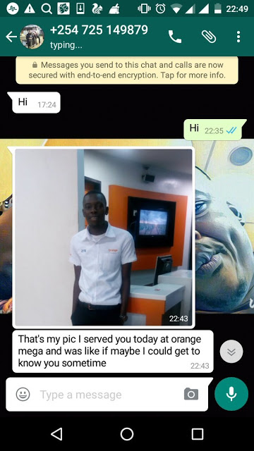 Whatsapp screenshots showing lady being seduced by Orange kenya employee