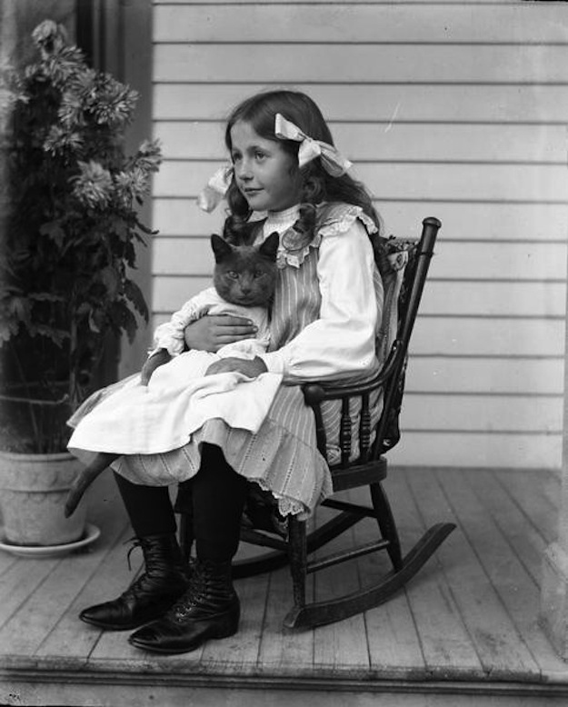 1920s rocking chair leather cigar recliner vintage everyday: photographs of girls with their cats