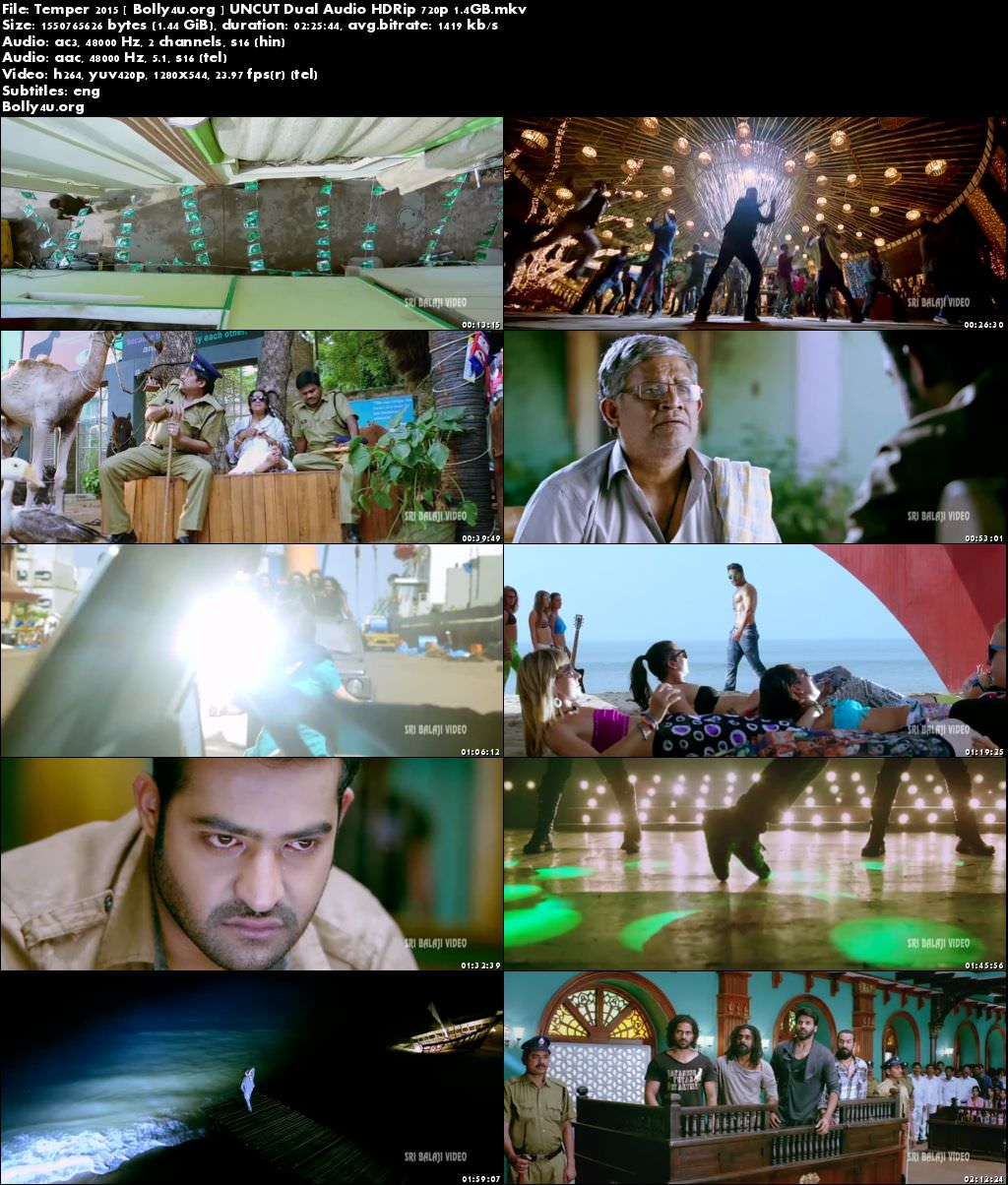Temper 2015 HDRip UNCUT 450MB Hindi Dubbed Dual Audio 480p Download