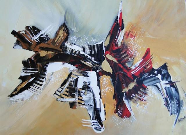 Peinture abstraite contemporaine, tableau intitulé l'OISELYR