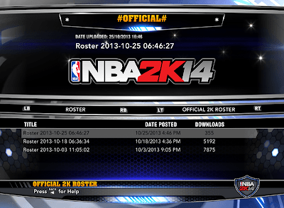 NBA 2K14 Official Roster Update 10-25-2013
