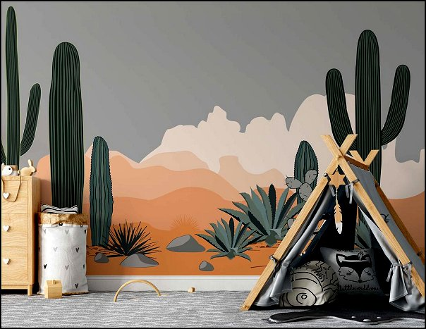 Desert Agave and Saguaro Cacti Mountains Background Wallpaper Nursery Children Kids Room Mural Home Decor Wall Art Removable