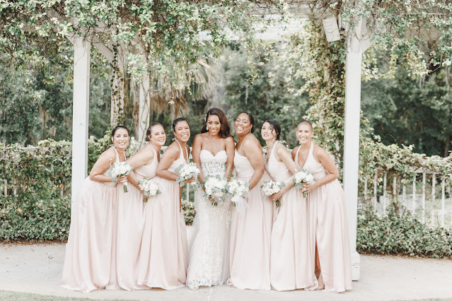 bride with bridemaids in blush pink dresses