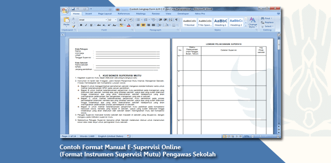 Contoh Format Manual E-Supervisi Online (Format Instrumen Supervisi Mutu) Pengawas Sekolah