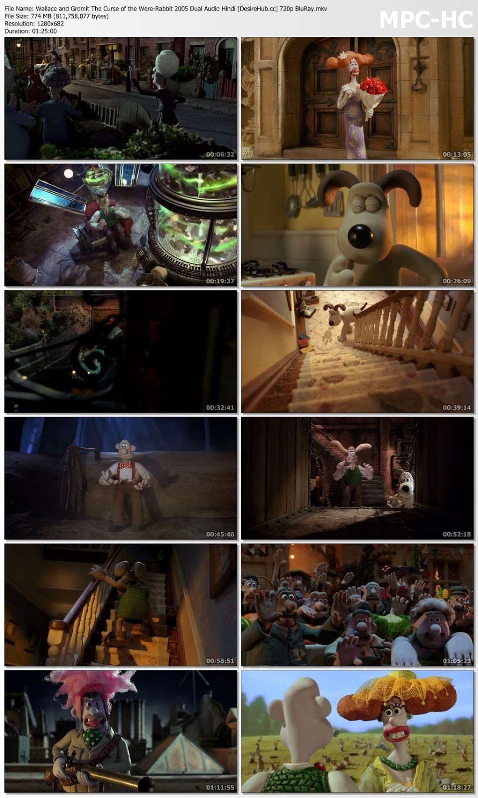 Wallace and Gromit The Curse of the Were-Rabbit 2005 Dual Audio Hindi 720p BluRay 750mb Desirehub
