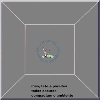 Foto mostrando que piso escuro e pintura das paredes e teto também escuras, dão a impressão de um ambiente compacto.