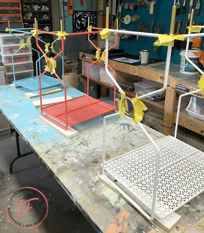 Spray Painted Vintage Metal Nesting Tables