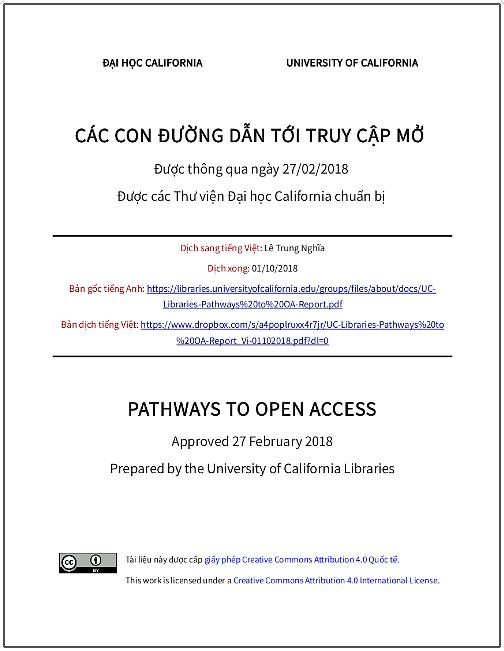 'Các con đường dẫn tới truy cập mở' - bản dịch sang tiếng Việt