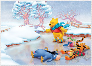 Winnie the Pooh at Winter: Free Printable Frames, Cards or Invitations.