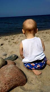 morze z dzieckiem