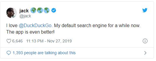 جاك دورسي يفضل DuckDuckGo على محركات البحث الأخرى