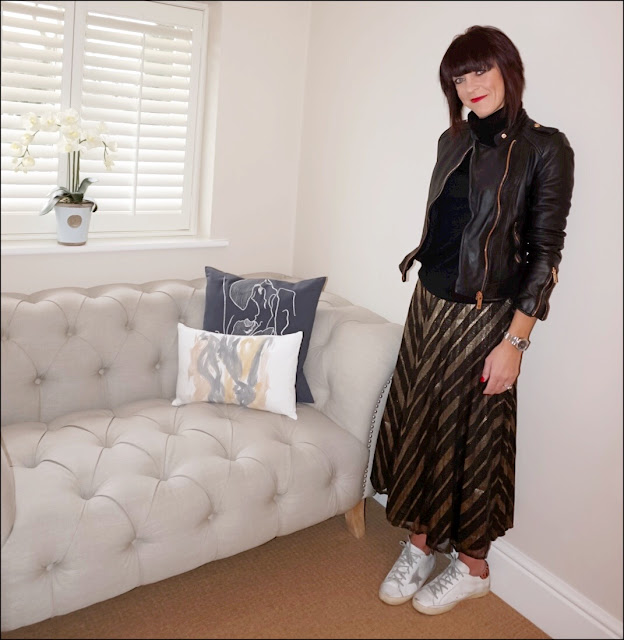 My Midlife Fashion, Zara leather biker jacket, primark polo neck jumper, zara herringbone pleated skirt, golden goose superstar trainers