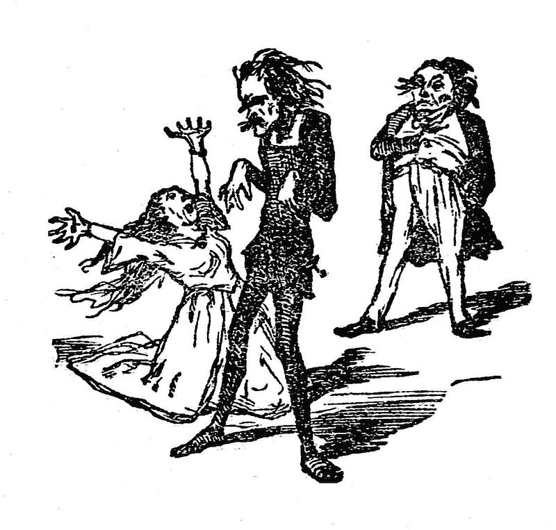 a 1855 theater actors cartoon about overacting