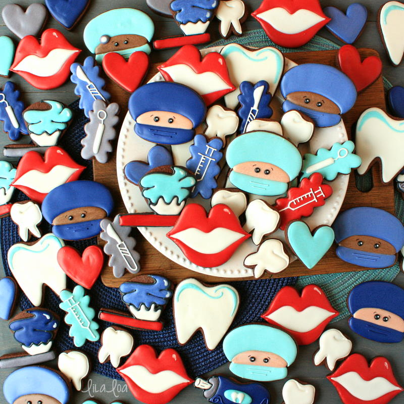 fun and happy dentist, surgeon and dental chocolate decorated sugar cookies