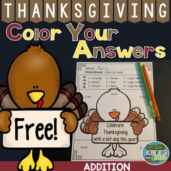Thanksgiving Color By Number Addition Freebie by #FernSmithsClassroomIdeas