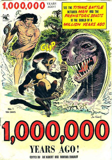 One Million Years Ago v1 #1 st john golden age comic book cover art by Joe Kubert