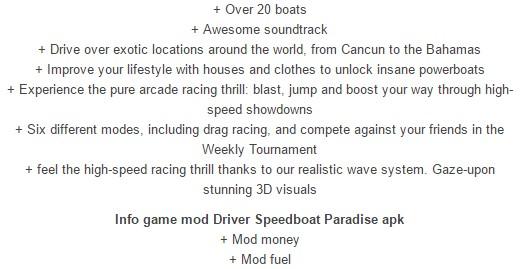 Driver Speedboat Paradise modded details