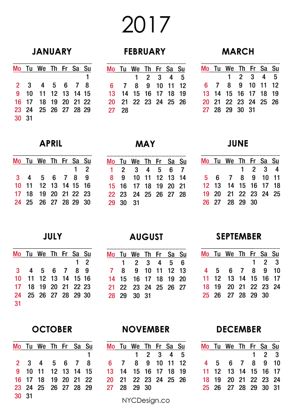 2017 Calendar A4 2017 Year