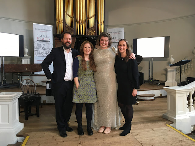 Cheryl Frances-Hoad with Sholto Kynoch, Jess Dandy and Helen Abbott after the premiere of Une Charogne at the Oxford Lieder Festival, 2019