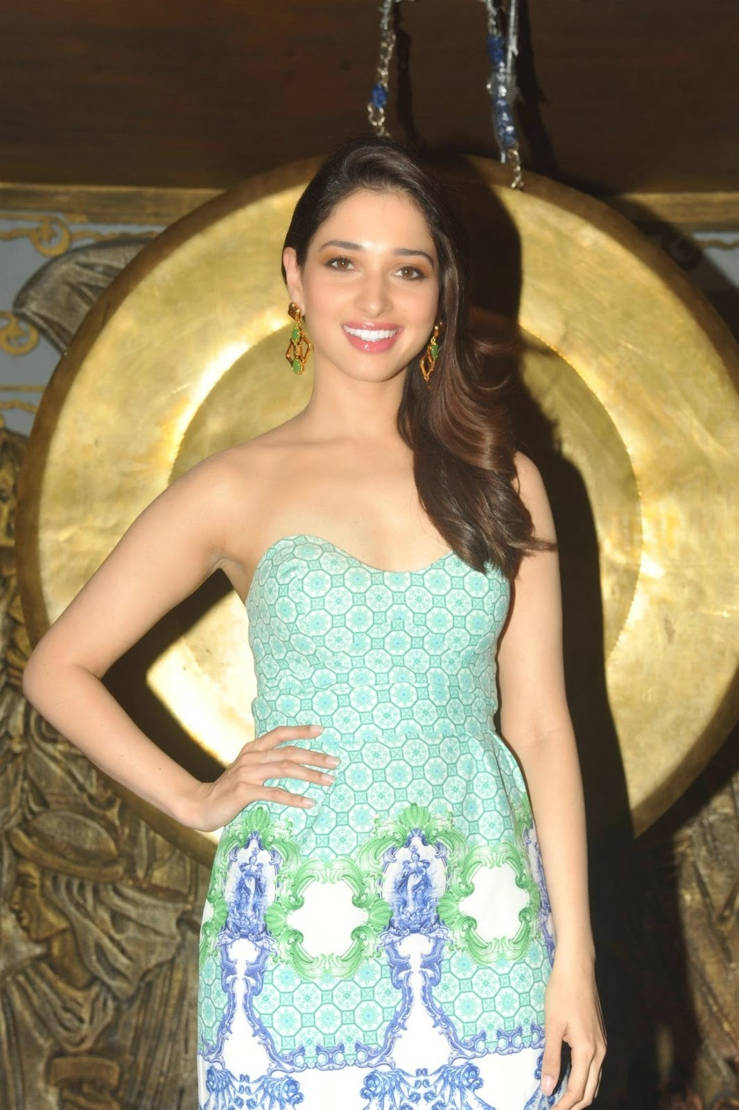 Tamanna Hot Photoshoot Pics In Long Blue Gown