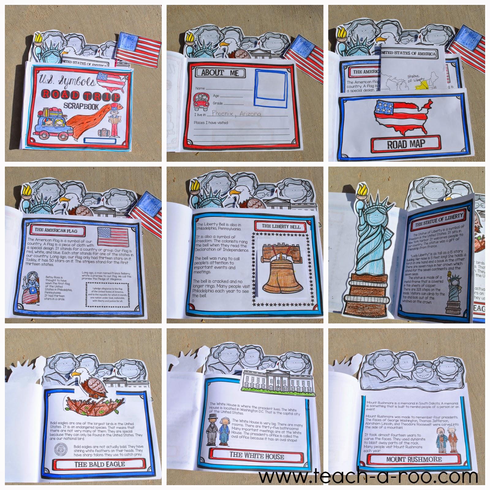 Teach A Roo United States Symbols Road Trip Scrapbook