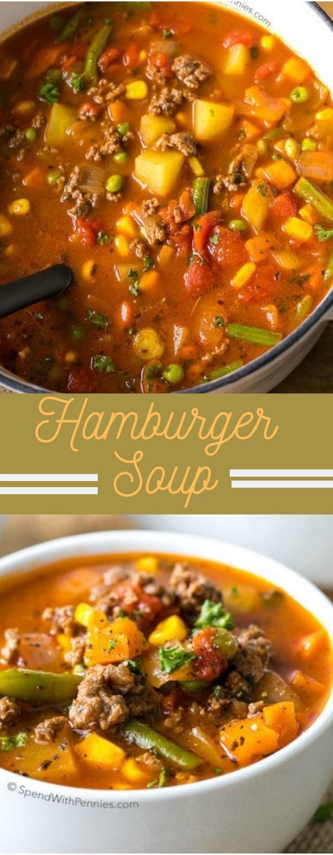 Easy Hamburger Soup #vegetarian #soup